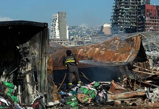 The blast, and subsequent shockwaves, devastated large parts of Beirut. © UN Photo/Pasqual Gorriz