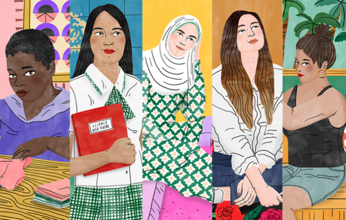 What does gender inequality look like? These five girls can tell you. Illustration by Bodil Jane for UNFPA.